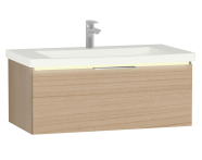 58972 - Central Washbasin Unit with 1 drawer, 90 cm, Golden Cherry, Ceramic Washbasin, Led