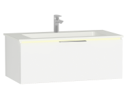 58973 - Central Washbasin Unit with 1 drawer, 90 cm, White High Gloss, Infinit Washbasin, Led