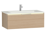 58974 - Central Washbasin Unit with 1 drawer, 90 cm, Golden Cherry, Infinit Washbasin, Led