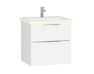 58975 - Central Washbasin Unit with 2 drawers, 60 cm, White High Gloss, Ceramic Washbasin, Led