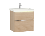 58976 - Central Washbasin Unit with 2 drawers, 60 cm, Golden Cherry, Ceramic Washbasin, Led