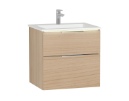 58977 - Central Washbasin Unit with 2 drawers, 60 cm, White High Gloss, Infinit Washbasin, Led