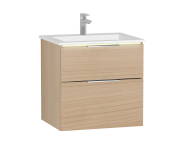 58978 - Central Washbasin Unit with 2 drawers, 60 cm, Golden Cherry, Infinit Washbasin, Led