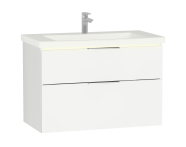 58979 - Central Washbasin Unit with 2 drawers, 90 cm, White High Gloss, Ceramic Washbasin, Led