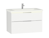 58980 - Central Washbasin Unit with 2 drawers, 90 cm, Golden Cherry, Ceramic Washbasin, Led