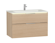 58981 - Central Washbasin Unit with 2 drawers, 90 cm, White High Gloss, Infinit Washbasin, Led