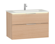 58982 - Central Washbasin Unit with 2 drawers, 90 cm, Golden Cherry, Infinit Washbasin, Led