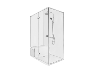 58991114000 - Roomy Shower Unit 150X080 Left, U Wall, Drawer, with Legs and Panels