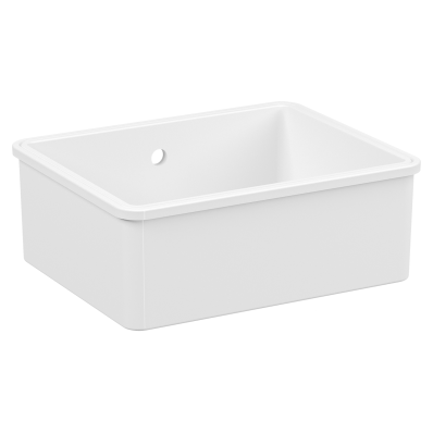 Undercounter Sink, 55 cm, 1 bowl, without tap hole, with overflow hole, white