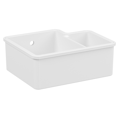 Undercounter Sink, 55 cm, 1.5 bowl, without tap hole, with overflow hole, white