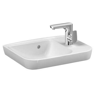 Sento Compact basin, 50x35 cm, one tap hole right, with overflow hole