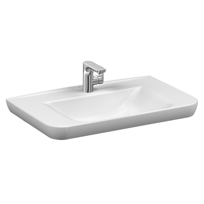 Sento   Vanity basin, 80 cm, with one tap hole, with overflow hole, white