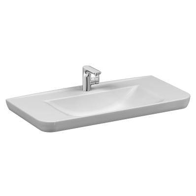 Sento   Vanity basin, 100 cm, with one tap hole, with overflow hole, white