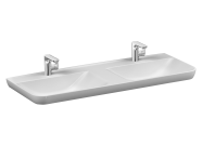 5949B003-0001 - Sento Washbasin with two bowls, 130 cm, with two tap holes, with overflow hole, white