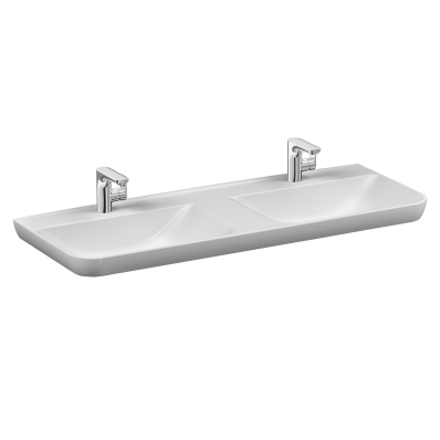 Sento Washbasin with two bowls, 130 cm, with two tap holes, with overflow hole, white