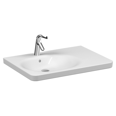 Special Need's Asymmetrical washbasin, 80 cm, with two tap hole, with overflow hole , white, A47156EXP thermostatic faucet set is included