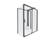 59890025000 - Zest Sliding Shower Unit 160x90 U Wall Right Black
