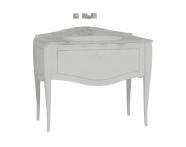 60158 - Elegance Washbasin Unit 100 cm, Matte White, Countertop Basin