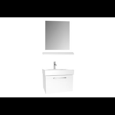 Optima Washbasin unit, w/drw, 60 cm + wb + shelf + classic mirror, Light Oak