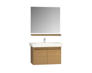 60268 - Step Flatpack Set, 85 cm, with doors, (washbasin unit, mirror, shelf), White High Gloss