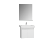 60269 - Step Flatpack Set, 65 cm, with doors, (washbasin unit, mirror, shelf), White High Gloss