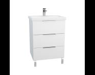 60306 - Ecora Washbasin Unit, 3 Drawers, with Leg, Including Basin, 60 cm, White