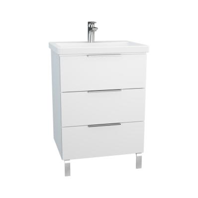 Ecora Washbasin Unit, 3 Drawers, with Leg, Including Basin, 60 cm, White