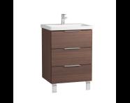 60307 - Ecora Washbasin Unit, 3 Drawers, with Leg, Including Basin, 60 cm, Oak