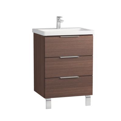 Ecora Washbasin Unit, 3 Drawers, with Leg, Including Basin, 60 cm, Oak