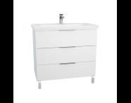 60308 - Ecora Washbasin Unit, 3 Drawers, with Leg, Including Basin, 90 cm, White