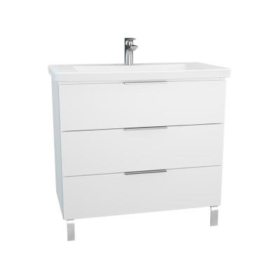 Ecora Washbasin Unit, 3 Drawers, with Leg, Including Basin, 90 cm, White