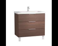 60309 - Ecora Washbasin Unit, 3 Drawers, with Leg, Including Basin, 90 cm, Oak