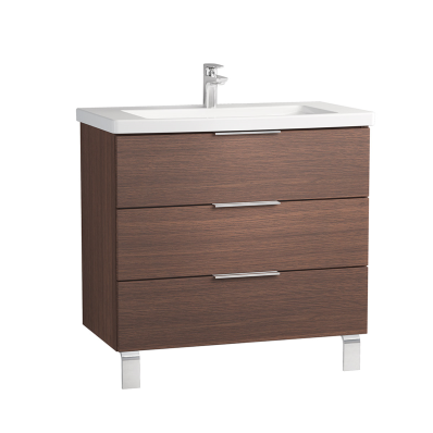 Ecora Washbasin Unit, 3 Drawers, with Leg, Including Basin, 90 cm, Oak