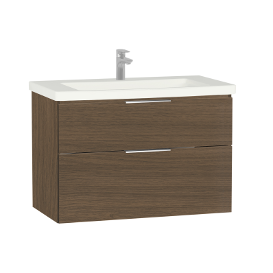Ecora Washbasin Unit, 2 Drawer, Including Basin, 90 cm, Oak
