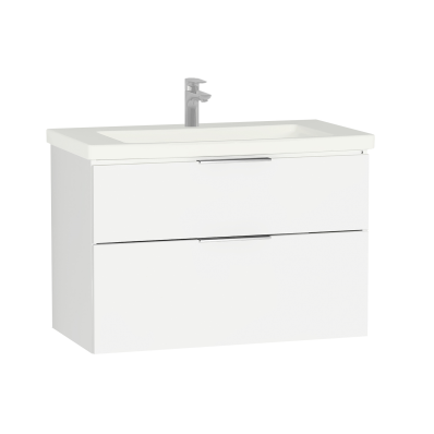 Ecora Washbasin Unit, 2 Drawer, Including Basin, 90 cm, White