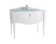60769 - Elegance Washbasin Unit, 100 cm, with undercounter washbasin, with marble with 1 faucet hole, white handle, Matte White