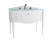 60773 - Elegance Washbasin Unit, 100 cm, with undercounter washbasin, with marble with 3 faucet holes, white handle, Matte White