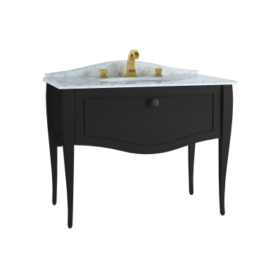 Elegance Washbasin Unit, 100 cm, with undercounter washbasin, with marble with 3 faucet holes, black handle, Matte Black