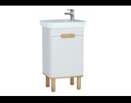 60776 - Sento lavabo dolabı, kapaklı, ayaklı, 50 cm, mat beyaz, sağ