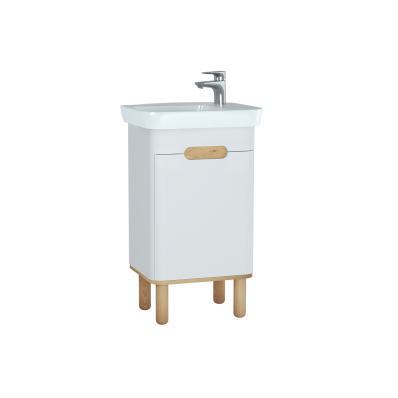 Sento Washbasin Unit, 50 cm, with doors, with legs, Matte White, right
