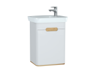 60777 - Sento Washbasin Unit, 50 cm, with doors, without legs, Matte White, right