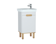 60778 - Sento Washbasin Unit, 50 cm, with doors, with legs, Matte White, left