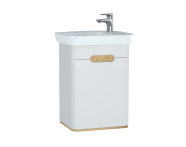 60779 - Sento Washbasin Unit, 50 cm, with doors, without legs, Matte White, left