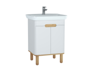 60780 - Sento Washbasin Unit, 65 cm, with doors, with legs, Matte White