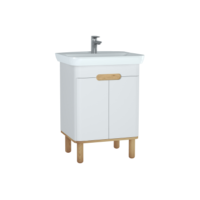 Sento Washbasin Unit, 65 cm, with doors, with legs, Matte White