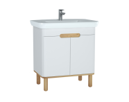 60784 - Sento Washbasin Unit, 80 cm, with doors, with legs, Matte White