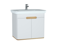 60785 - Sento Washbasin Unit, 80 cm, with doors, without legs, Matte White
