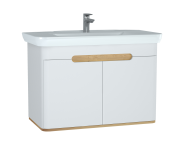 60787 - Sento Washbasin Unit, 100 cm, with doors, without legs, Matte White