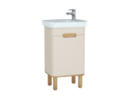 60790 - Sento Washbasin Unit, 50 cm, with doors, with legs, Matte Cream, left