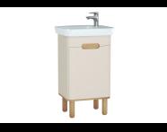 60790 - Sento Washbasin Unit, 50 cm, with doors, with legs, Matte Cream, left